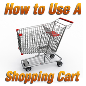 How to Use a Shopping Cart text with image of a grocery shopping cart on a white background